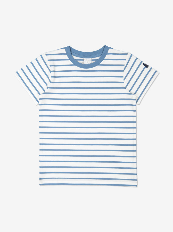 Unisex Blue Kids Organic Striped T-Shirt