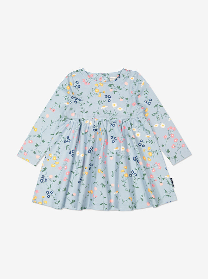 Girl Blue GOTS Organic Swedish Meadow Print Dress