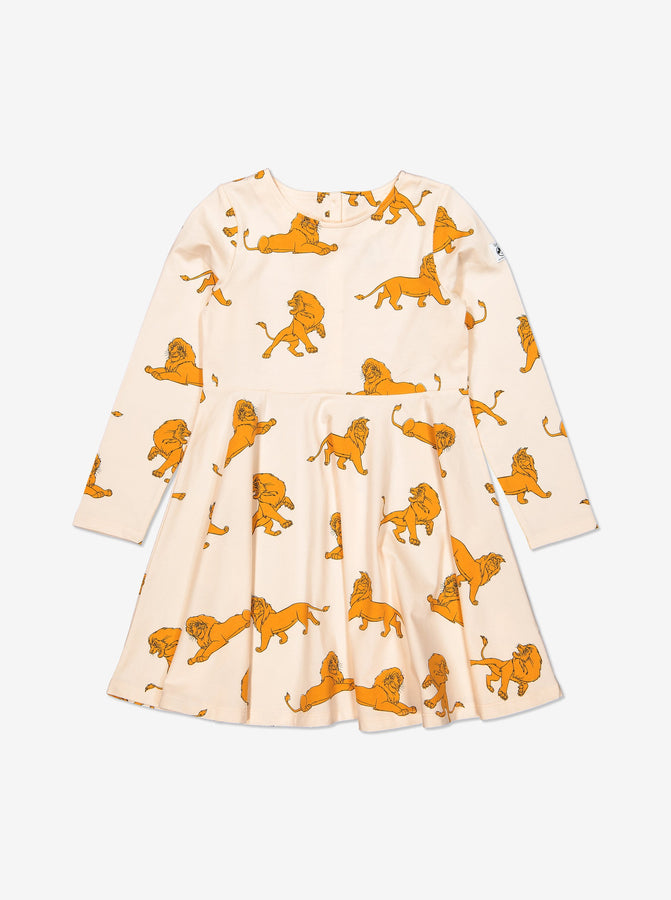 Girl White GOTS Organic Simba Print Dress