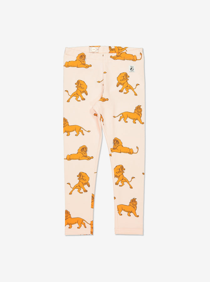 Girl White GOTS Organic Simba Print Leggings