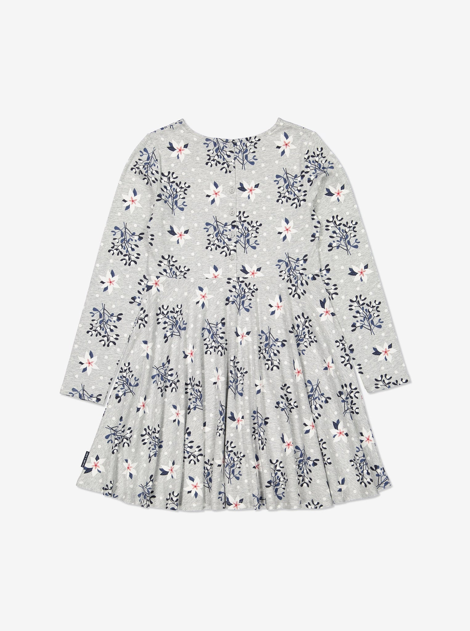 Kids Organic Cotton Mistletoe Print Dress 1-12years Grey Girl