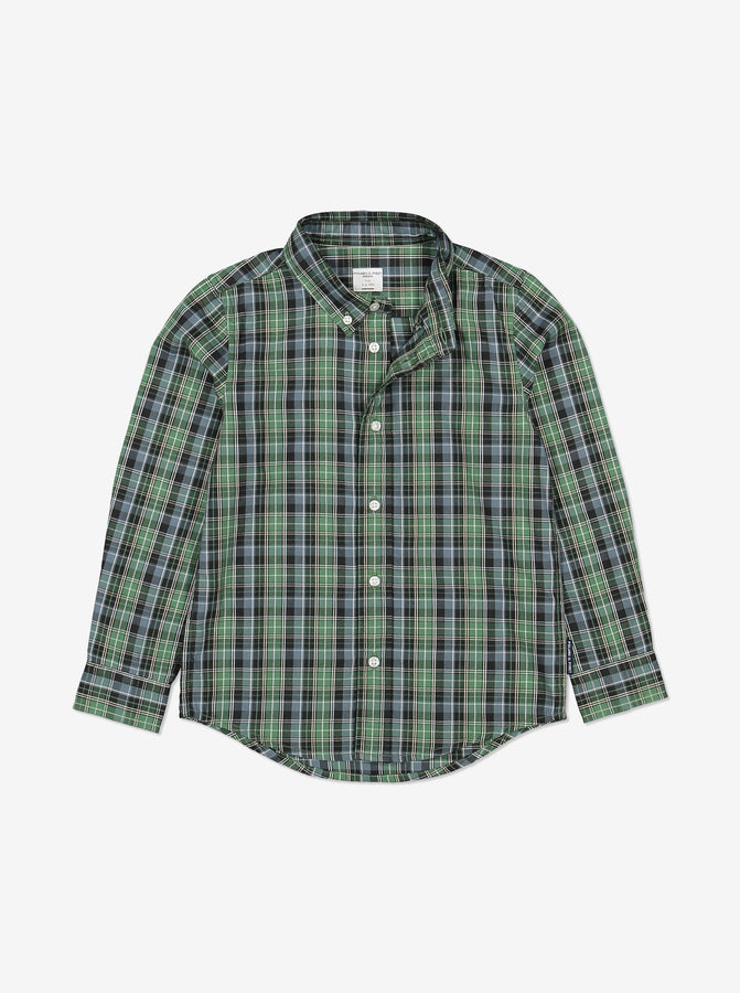 Kids Checked Shirt 1-6years Green Boy