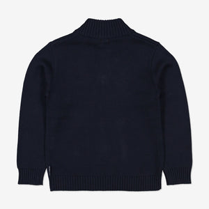 Kids Organic Cotton Wolf & Star Jumper 1-6years Navy Boy