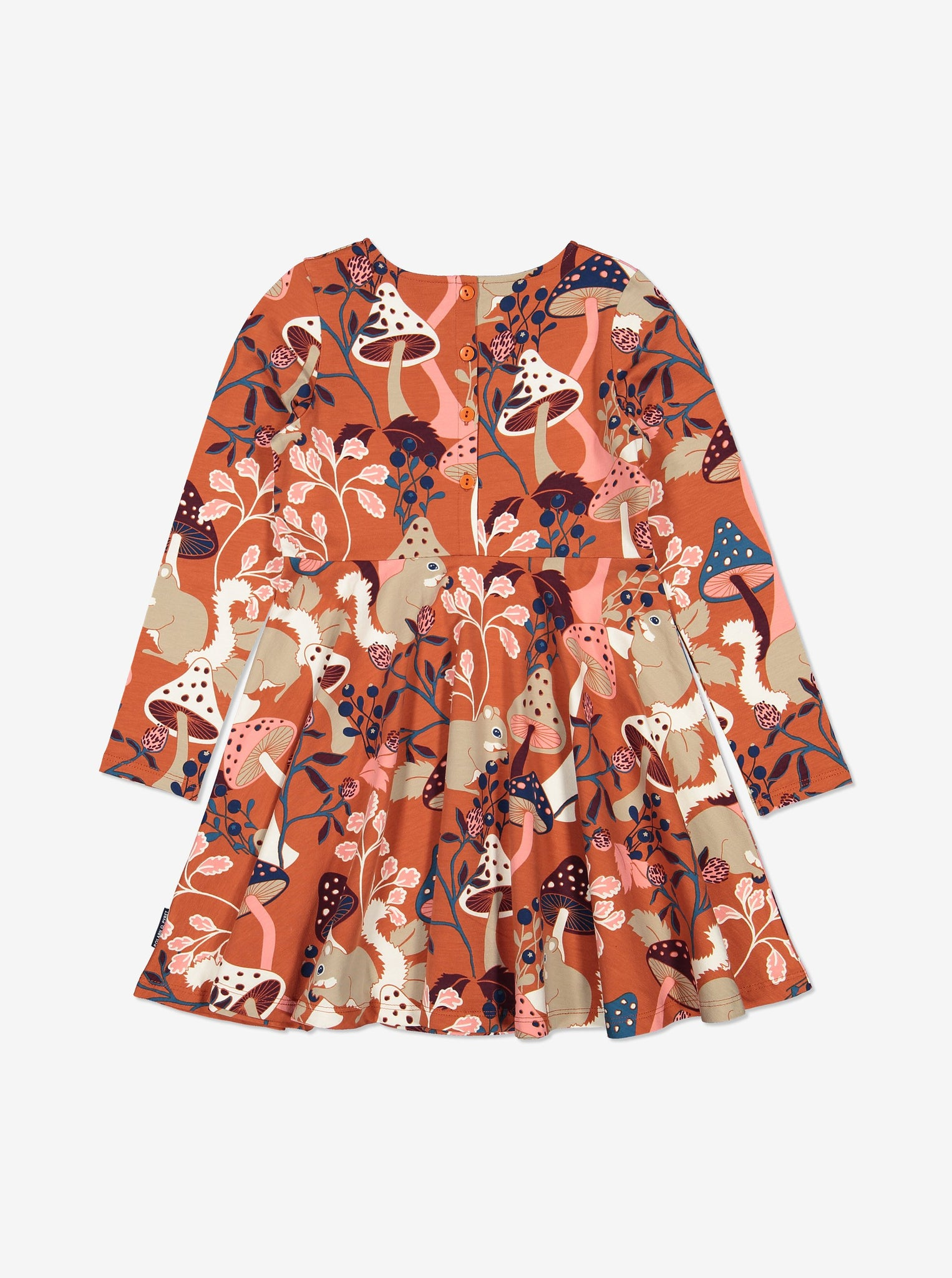 Nordic Print Kids Dress 1-6years Orange Girl