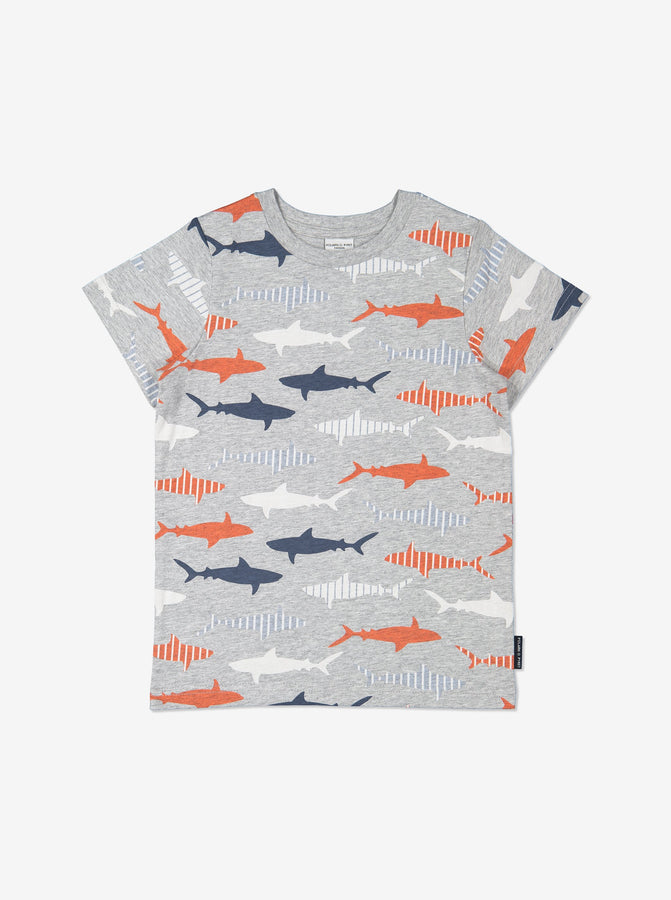 Boys Grey Kids Gots Organic Shark Print T Shirt