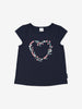 Girls Navy Strawberry Applique Kids T-Shirt