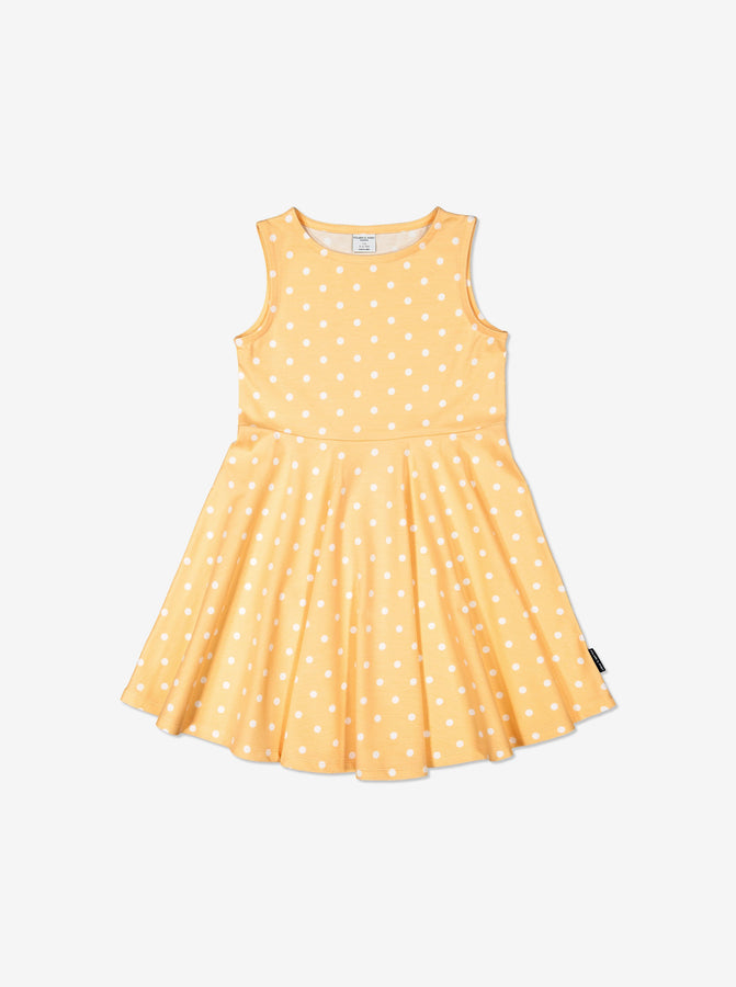 Girls Yellow Kids GOTS Organic Spotty Dress