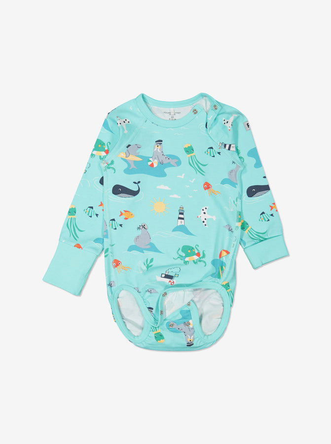 Boys Blue Gots Organic Seaside Print Babygrow