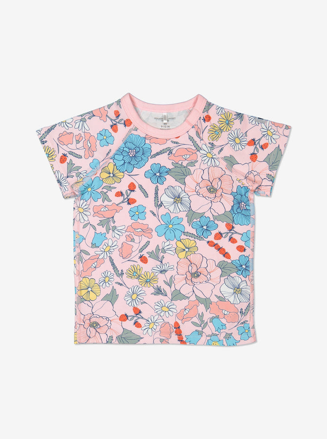 Girls Pink Gots Organic Meadow Print Baby T Shirt