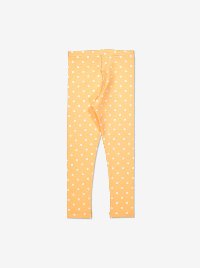 Girls Yellow Kids Spotty GOTS Organic Leggings