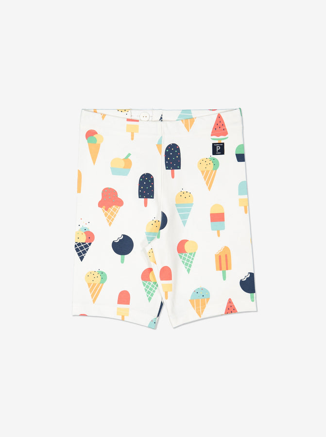 Girls White Kids Ice Cream Print GOTS Shorts