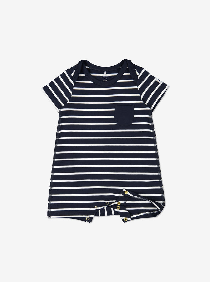 Boys Navy Newborn Baby Striped GOTS Organic Romper