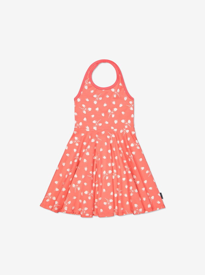 Girls Pink Kids GOTS Halter Neck Strawberry Print Dress