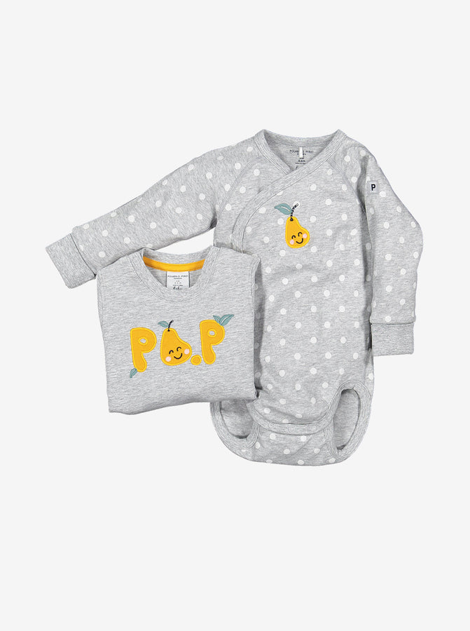Embroidered Pear Wrapround Baby Bodysuit