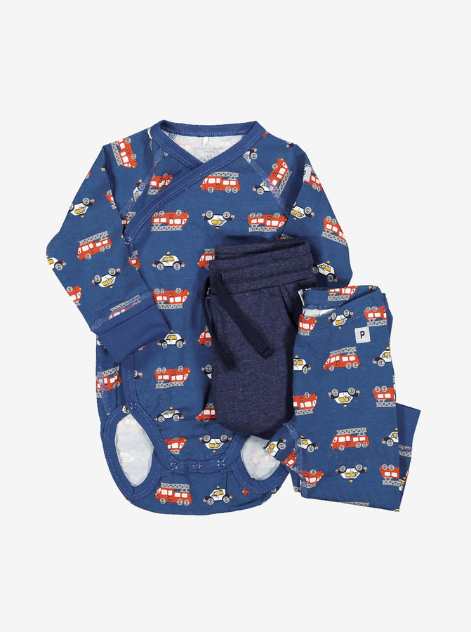 Vehicle Print Wraparound Baby Bodysuit
