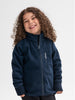 A smiling young kid wearing a waterproof kids fleece jacket in navy, with front zipper and pocket, made of 100% polyester.
