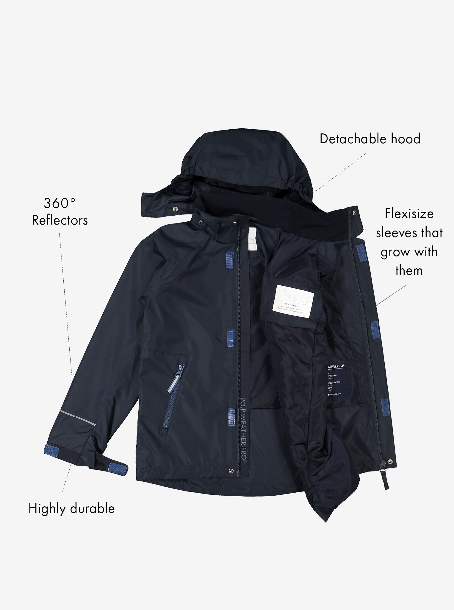 Extendable Waterproof Kids Shell Jacket