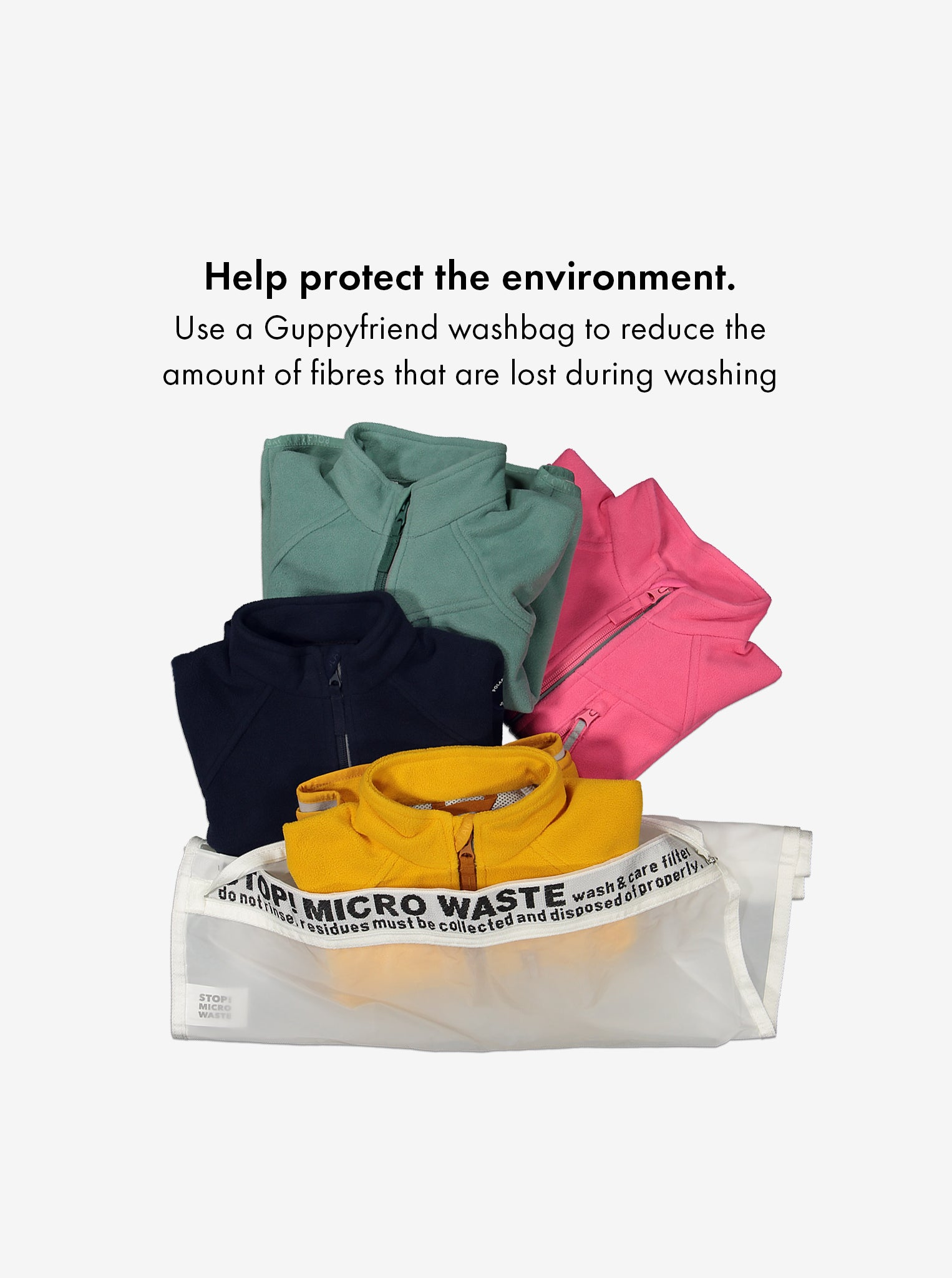Waterproof, kids fleece jacket in green, pink, navy, and yellow place in an eco-friendly, Guppyfriend washbag.