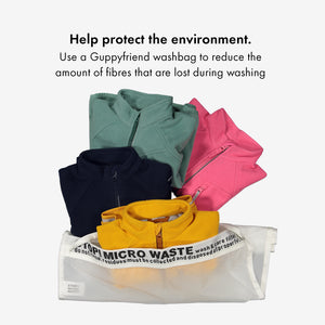An eco-friendly Guppy Friend washbag used for kids waterproof fleece jacket in colours green, pink, navy, and yellow.