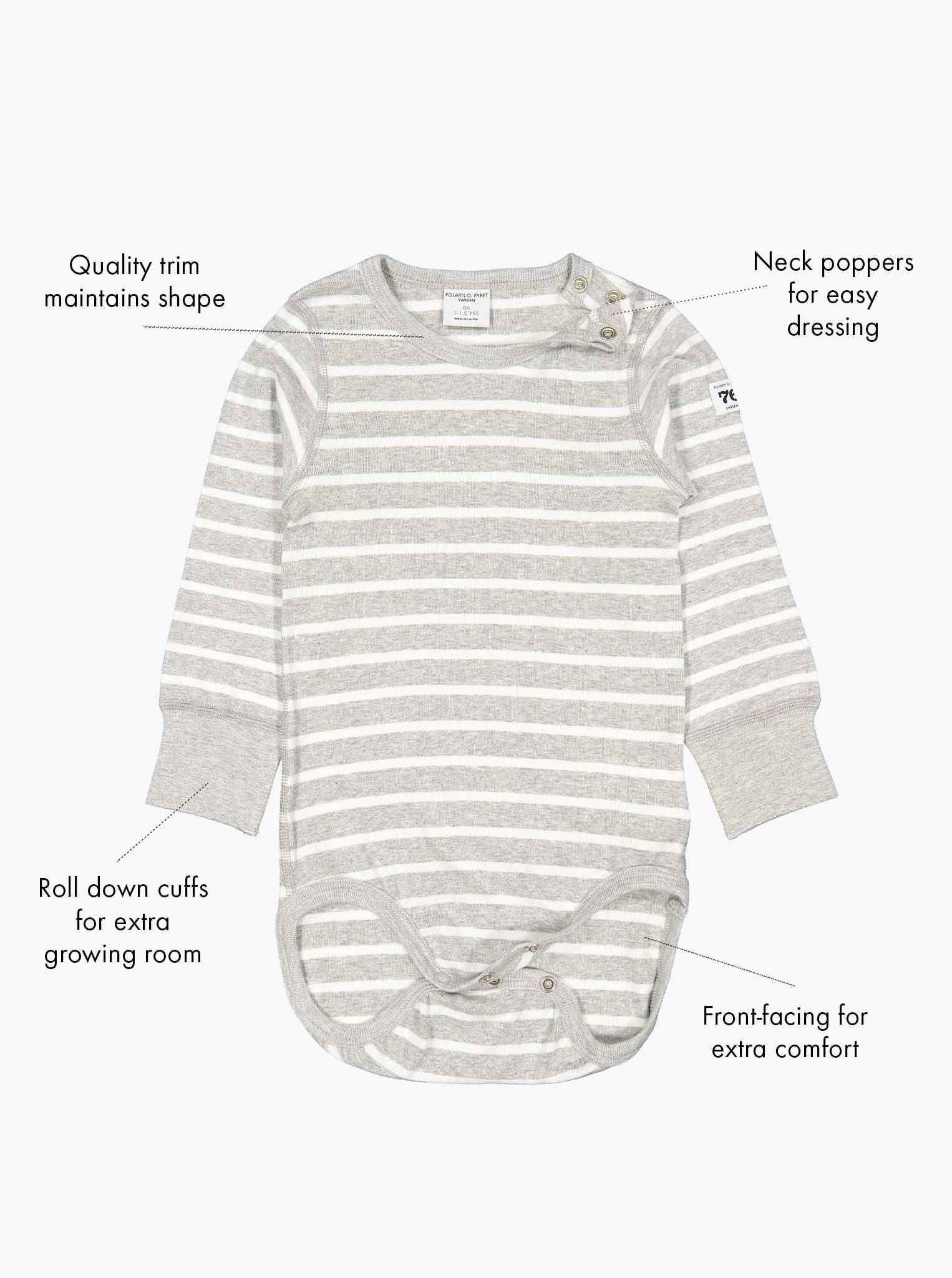 Babygrows for toddlers & babies in a classic grey and white stripe print, with text labels on the side showing its special features.