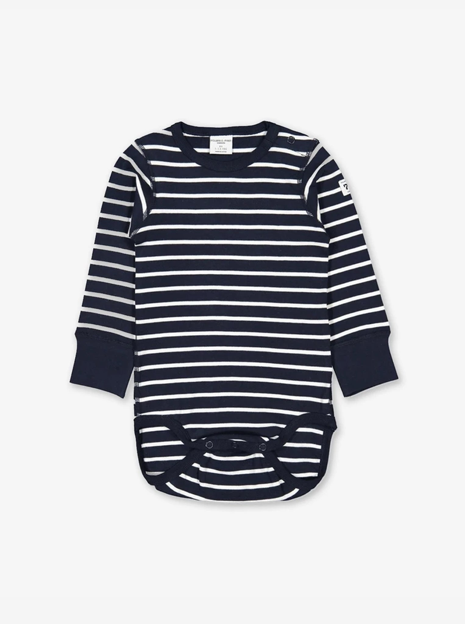 Front view of a long sleeve blue and white striped unisex babygrow with poppers, made from 100% organic cotton fabric.