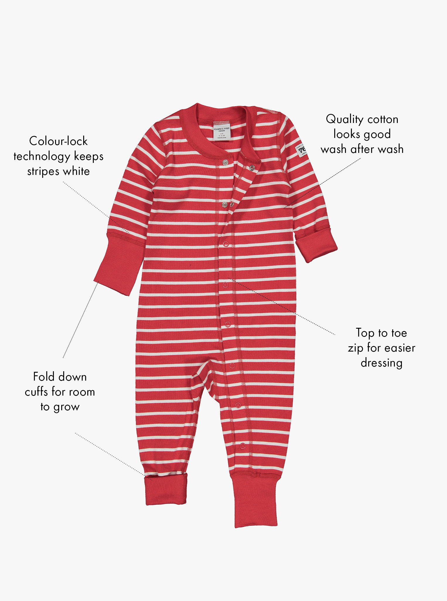 Whole body view of the red and white stripe print baby all-in-one, with features shown as text labels on the sides.