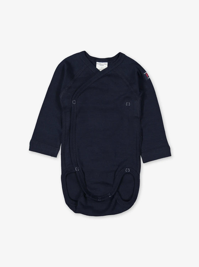 Front view of a long sleeve wraparound babygrow for newborns in a classic navy blue colour, made from organic cotton fabric.