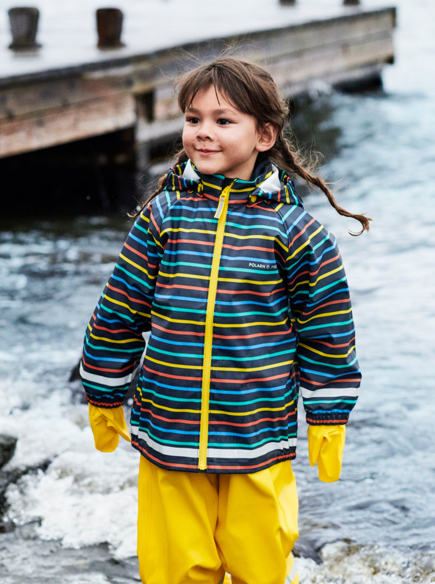 Multi Stripe Waterproof Kids Raincoat