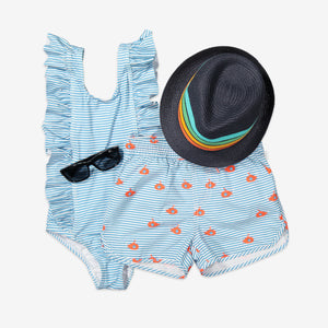 Stripes & Submarine Print Kids Swim Shorts