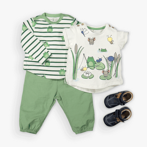 Stripes & Frog Print Baby Top