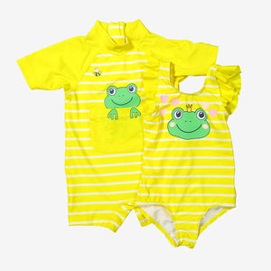 Stripes & Frog Kids Swimsuit