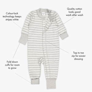 Full body view of a white & grey stripe baby all-in-one, with features such as roll down sleeves and poppers.
