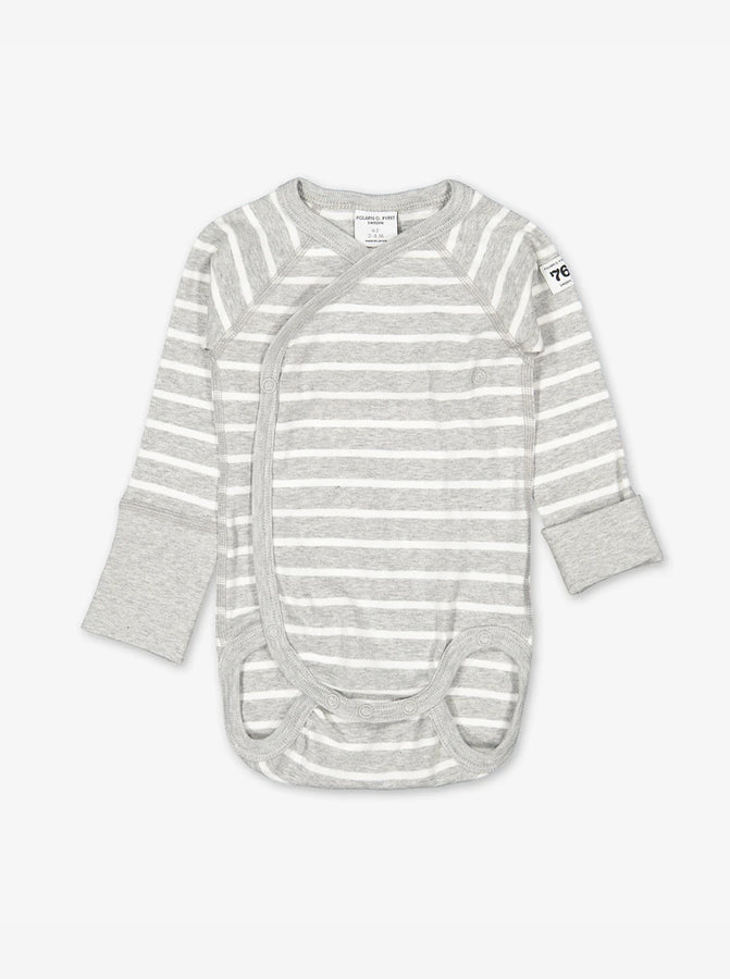 Wraparound style babygrow in white and grey stripes for newborn preterm babies, made from certified organic cotton fabric.