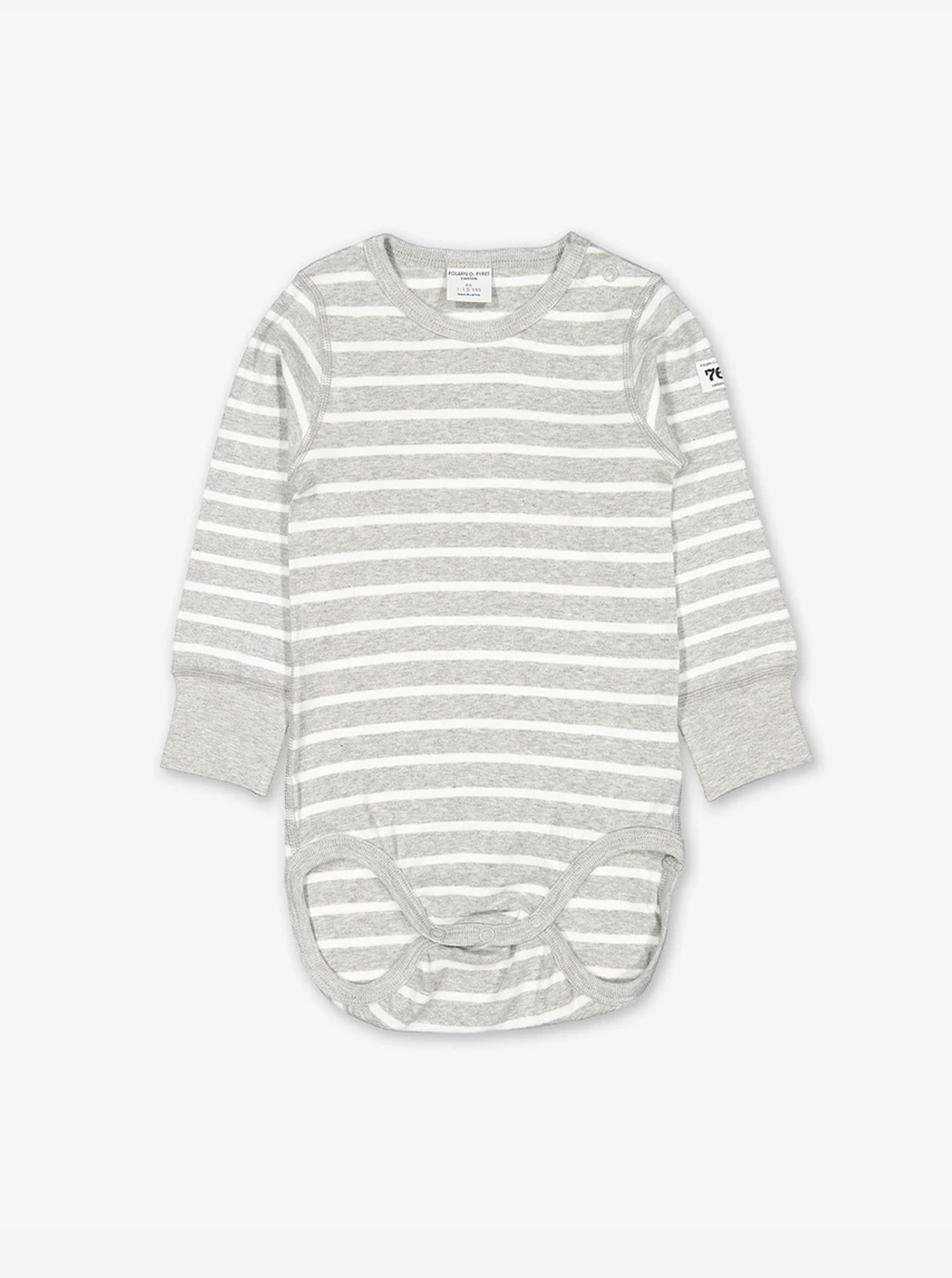 Front view of a grey and white stripe print bodysuit for babies and toddlers; a stylish staple made from 100% soft organic cotton.