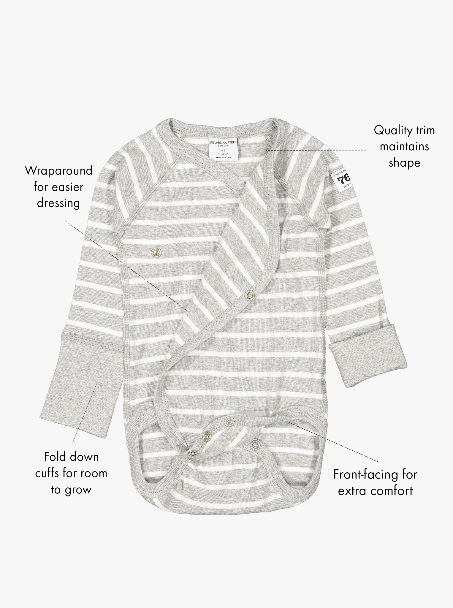 White and grey striped wrap around babygrow for preterm newborn babies, with labels showing the babygrow's special features.