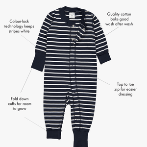 A stripe print baby all-in-one in the colour navy blue, with its key features shown on the right as text labels.
