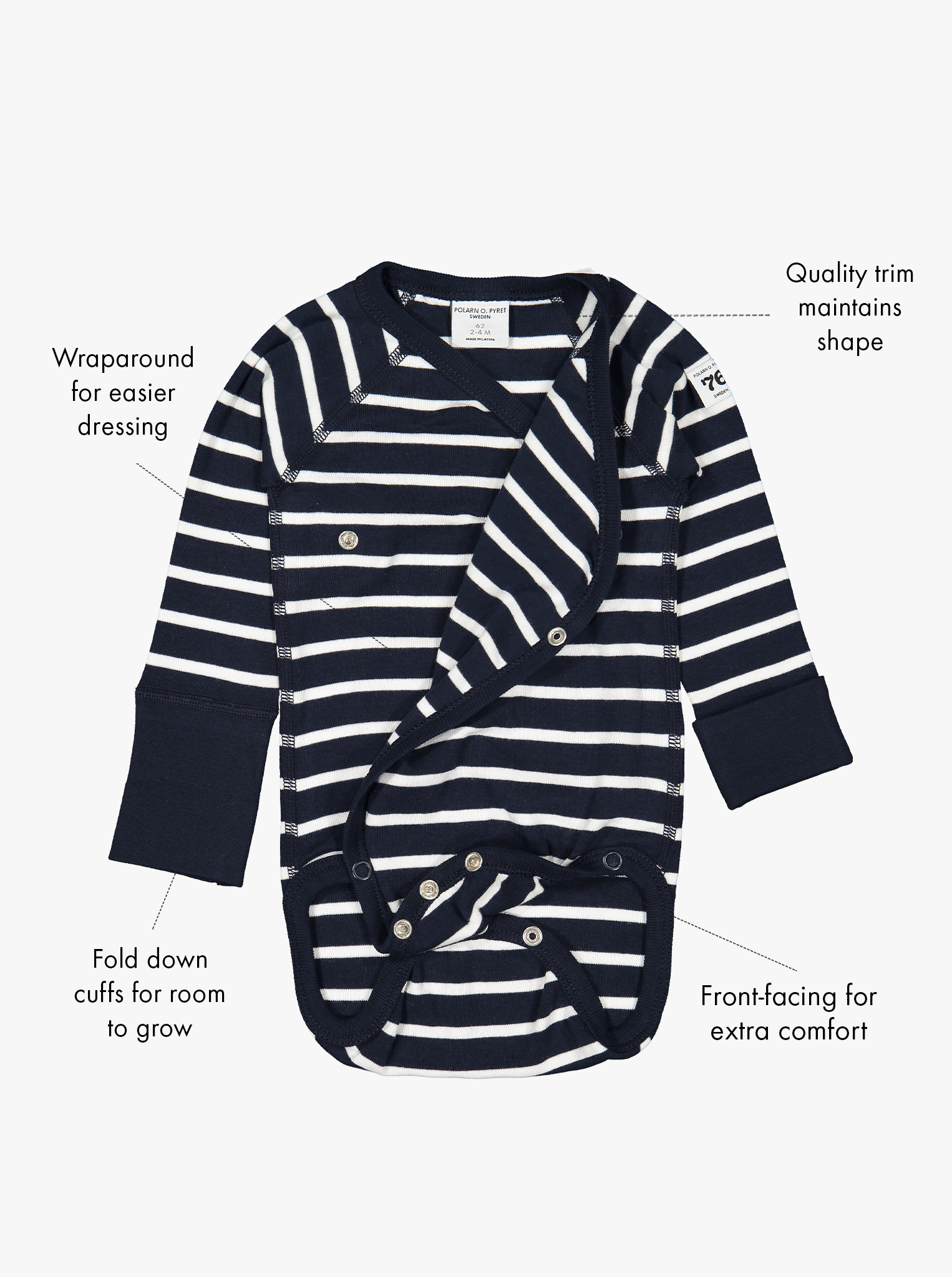 Navy blue and white stripe print babygrows in a front view, with the buttons opened and text features shown on the sides.