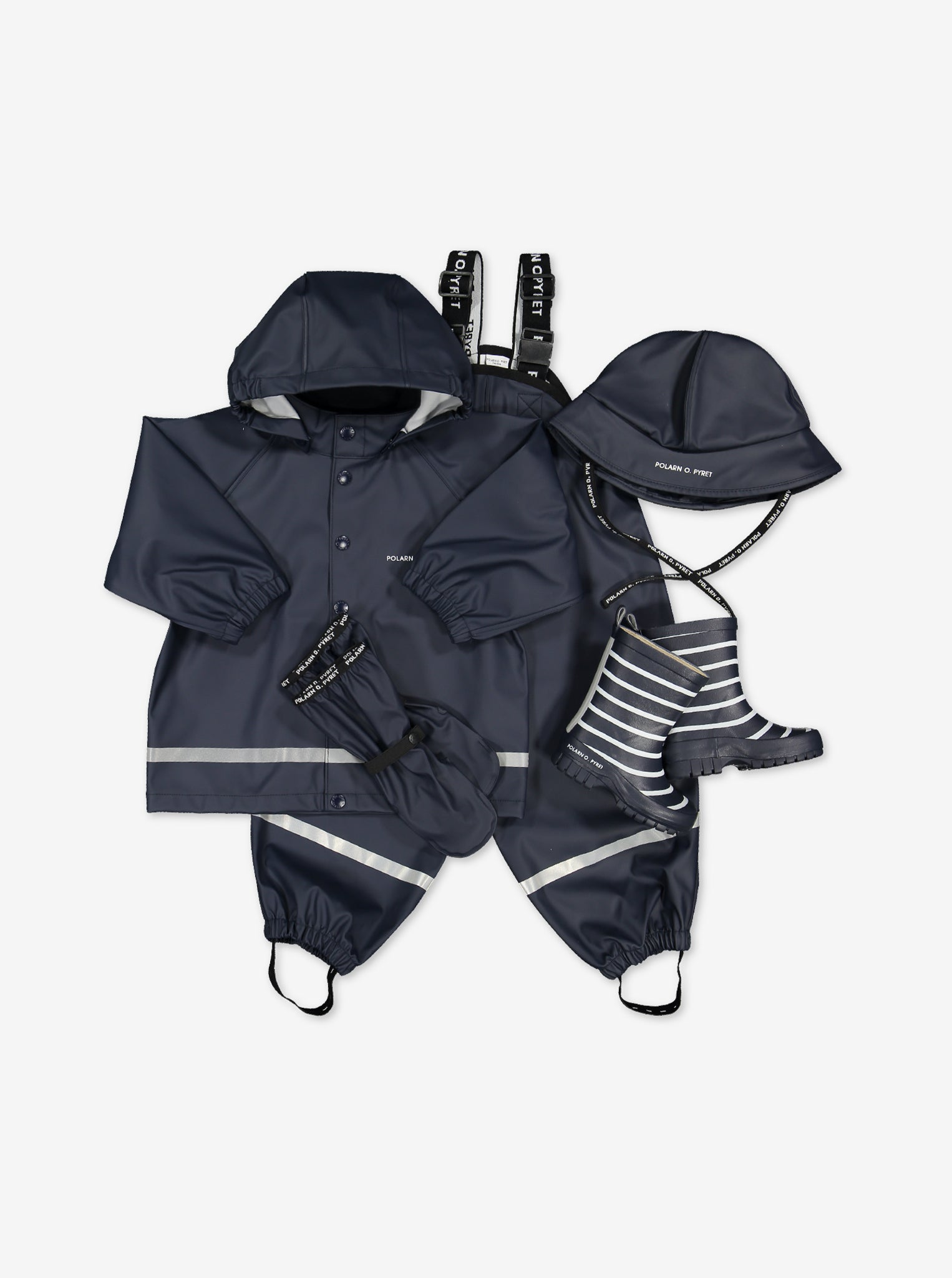 Kids outerwear set for rainy season, includes a navy, waterproof kids raincoat, rain trousers, rain hat and rain boots.