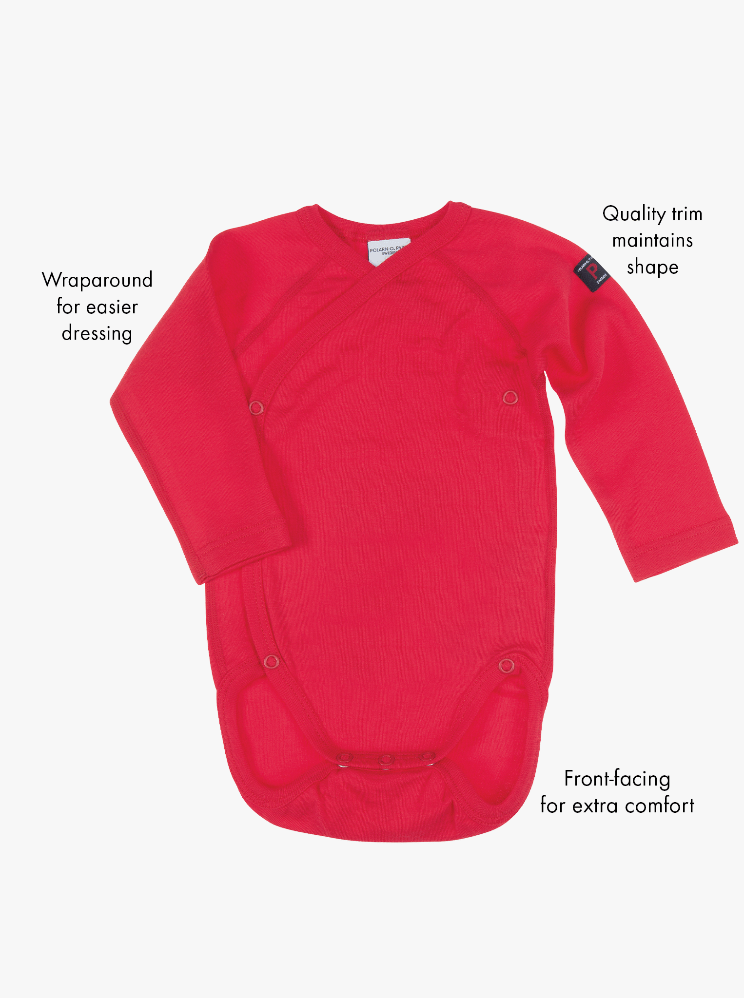 Front view of the red long sleeve wrap around baby grow in organic cotton, with features shown as text labels on the side.