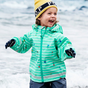 A toddler sporting a green, kids raincoat with frog & stripes design, paired with kids wool gloves  and kids wool beanie.