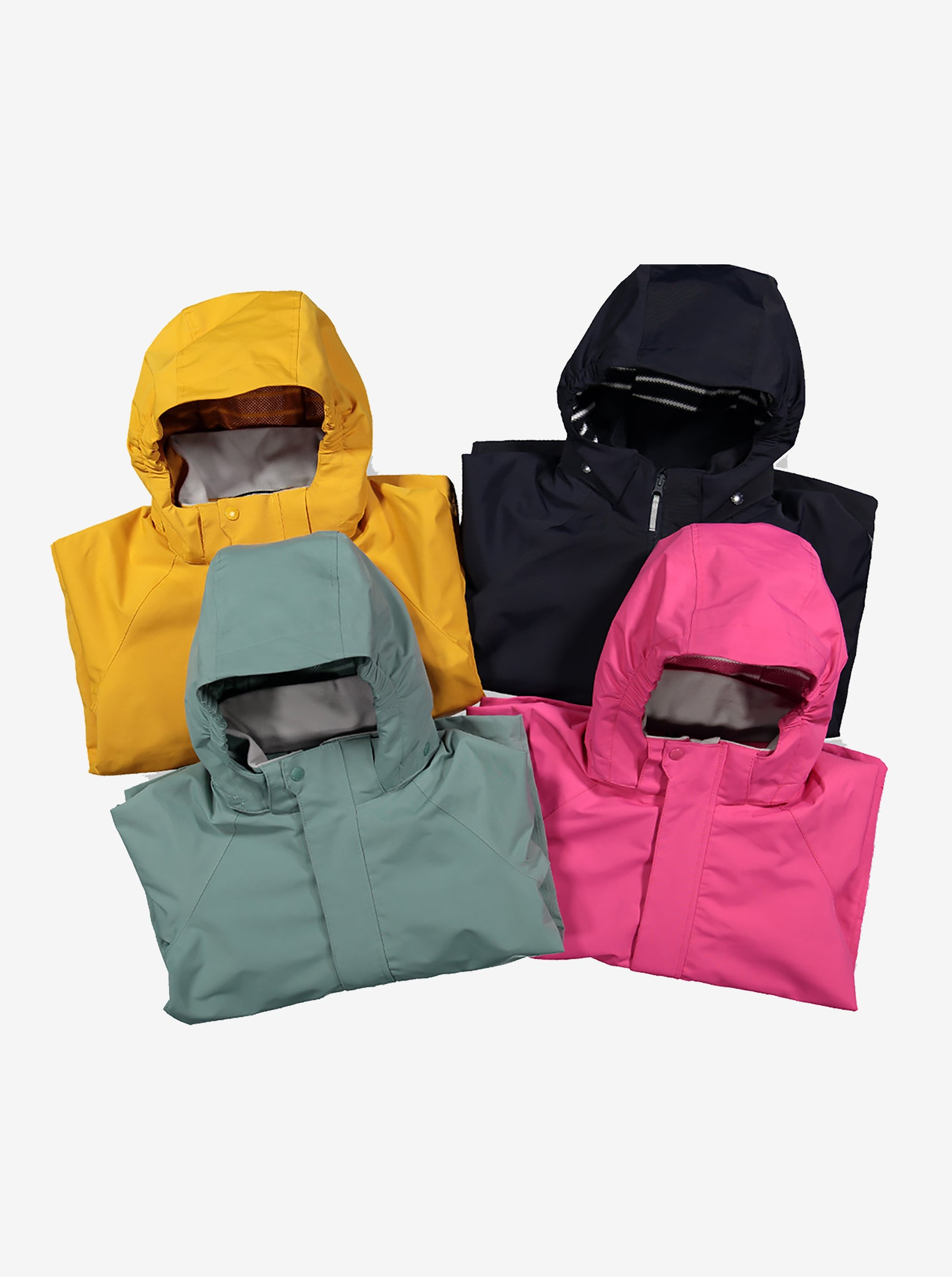 Four kids waterproof shell jackets, comes in the colours yellow, navy, green, and pink, made of lightweight fabric.