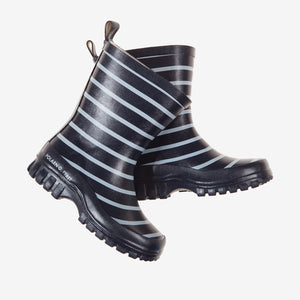 A pair of navy and white stripes kids wellies for rainy season, exterior is made of rubber and cotton for the inner lining.