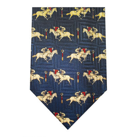 finishing post printed silk tie