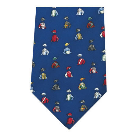 jockey silks blue printed silk tie
