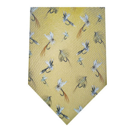 fishing flies printed silk tie