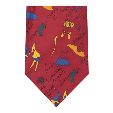 shakespeare plays red printed silk tie