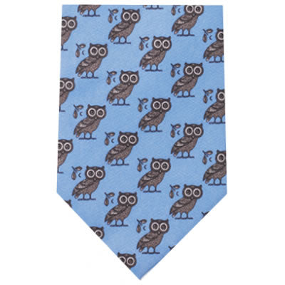 greek owl printed silk tie