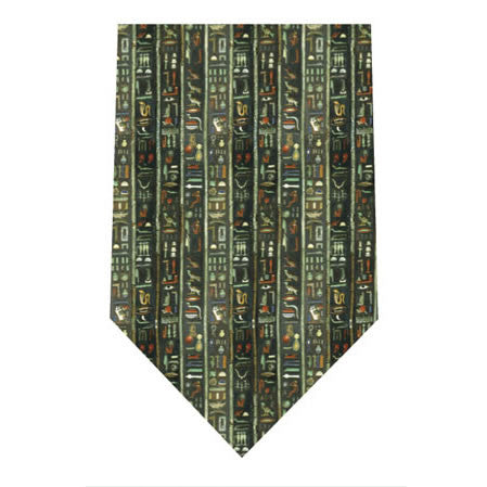 egyptian heiroglyphics printed silk tie