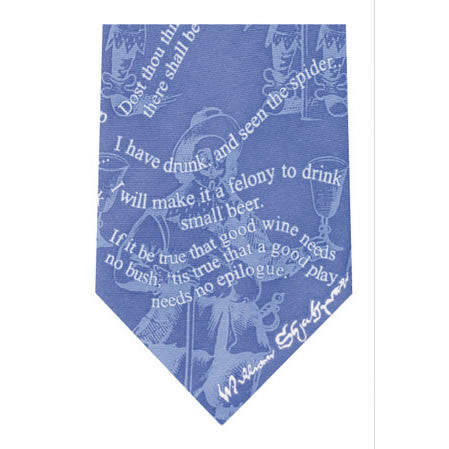 shakespeare drinking printed silk tie