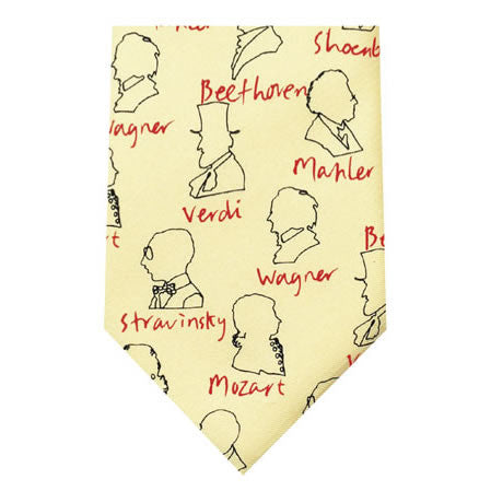 composers cream printed silk tie